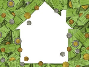 House outline with money scattered around